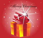 Christmas card. Gift box on a red background with snowflakes Stock Photography