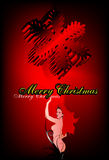 Christmas card. Card with the bared girl and 3D a snowflake Royalty Free Stock Image
