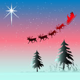 Christmas Card. Christmas background illustration with Santa and his sleigh on an icy night Stock Photo