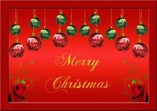 CHRISTMAS CARD. Christmas greeting card with christmas balls Stock Photography