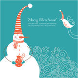 Christmas card. Snowman with present and little bird Stock Photos
