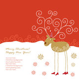 Christmas  card. Christmas deer and place for your text Stock Images