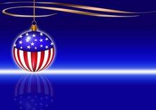 CHRISTMAS CARD. Christmas greeting card with christmas usa flag ball. Blue background Stock Photography