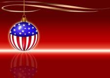 CHRISTMAS CARD. Christmas greeting card with christmas usa flag ball. Red background Royalty Free Stock Photography