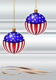CHRISTMAS CARD. Christmas greeting card with christmas usa flag balls. Gray background Stock Photos