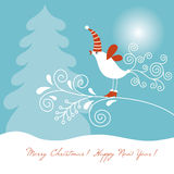 Christmas  card. Christmas card with little cartoon bird Royalty Free Stock Photos