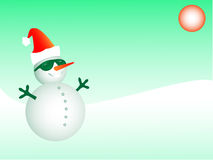 Christmas card. Funky Santa snowman wearing sunglasses and Santa hat Stock Photography