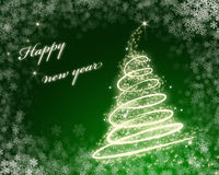 Christmas card. Green happy new year greeting card Stock Photography