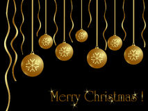 Christmas card. Golden balls on black background Stock Photography