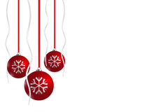 Christmas card. Red xmas balls on white background Royalty Free Stock Image