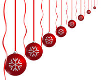 Christmas card. Red xmas balls on white background Stock Photo