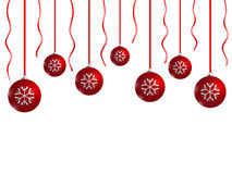 Christmas card. Red xmas balls on white background Stock Images