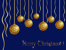 Christmas card. Golden balls on blue background Royalty Free Stock Image