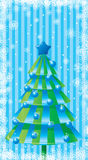 Christmas card. With tree and snowflakes royalty free illustration