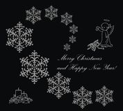 Christmas card. Black Christmas card with snowflakes, angel and candle Stock Image