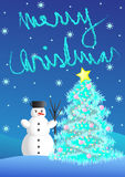 Christmas card. With snowman and christmas tree Royalty Free Stock Image