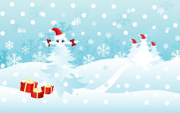 Christmas card. Christmas gifts and christmas trees funny  illustration for decoration Royalty Free Stock Images