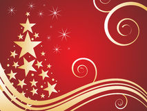 Christmas card. Vector illustration of golden christmas elements on a red background Royalty Free Stock Photos