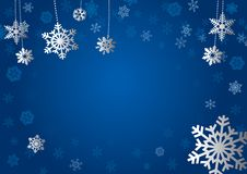 Christmas Card. Illustration, background. Christmas snow. The falling snow. Blue Stock Photo