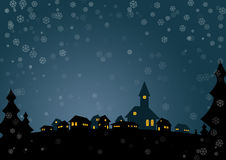 Christmas card. Nice christmas card with small village in night Stock Photos