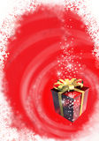 Christmas card. Illustrated red Christmas card with gift box Stock Image