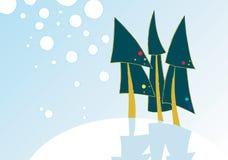 Christmas card. Green Christmas trees, Christmas card Royalty Free Stock Images