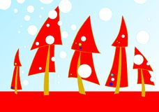 Christmas card. Green Christmas trees, Christmas card Royalty Free Stock Photos