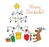 Christmas card. Vector illustration - comic Christmas card stock illustration