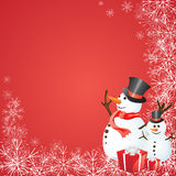 Christmas card. Illustration of two funny snowmen on a christmas background Royalty Free Stock Photography