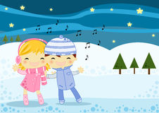 Christmas card. Illustrated Christmas card with 2 cute little kids a boy and a girl singing a Christmas carol on a cold winter night Royalty Free Stock Photo