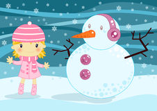 Christmas card. Illustrated Christmas card with a cute little girl with her snowman on a cold winter night wit snow flakes Stock Photos