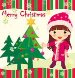 Christmas card. Vector illustration about Christmas girl Royalty Free Stock Photography