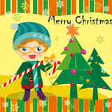Christmas card. Vector illustration about Christmas boy White candy Vector Illustration