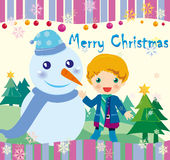 Christmas card. Vector illustration about Christmas boy White snowman Vector Illustration