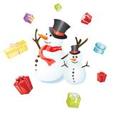 Christmas card. Illustration of colorful gifts flying around two funny snowmen Stock Image