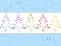 Christmas card. Illustration of colorful christmas trees and stars royalty free illustration