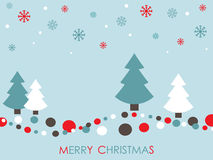 Christmas card. Red white and blue christmas card with trees and snowflakes Stock Photo