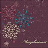 Christmas card. Retro stylized christmas greeting card - vector illustration royalty free illustration