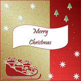 Christmas Card. Gold and red Christmas card Stock Images
