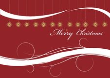 Christmas card. Red christmas card with ornaments royalty free illustration