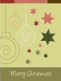 Christmas Card. With Decorations ans Stars Stock Images