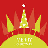 Christmas Card. With fir and stars Royalty Free Stock Photo