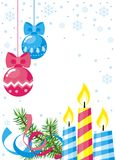 Christmas card. With balloons and candles Stock Images