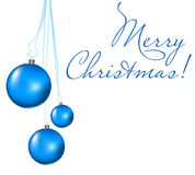 Christmas card. With 3 shiny blue balls Royalty Free Stock Photo
