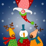 Christmas card. Colorful graphic illustration for children Royalty Free Stock Photography
