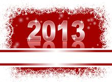 Christmas card with 2013. Christmas and new year card  with 2013 on a red winter background Stock Image