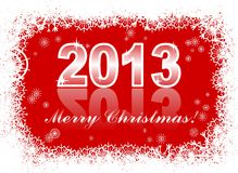 Christmas card with 2013. Christmas and new year card  with 2013 on a red winter background Royalty Free Stock Image