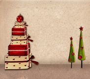 Christmas card. Collage artwork. Acrylic colors on paper Royalty Free Stock Image