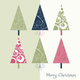 Christmas card. With decorated trees, vector Stock Images