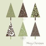Christmas card. With retro trees Royalty Free Stock Images